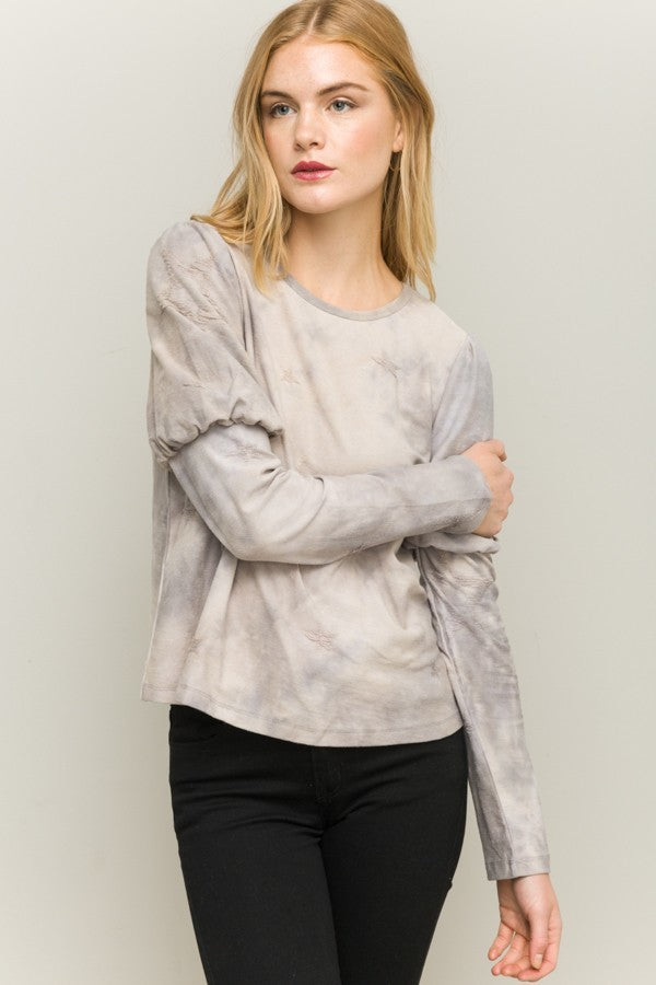 Natural Taupe Bubble Sleeve Top