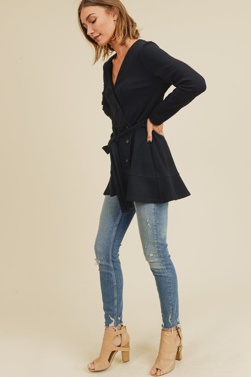 Black Wrapped Knit Ruffle Hem Cardi