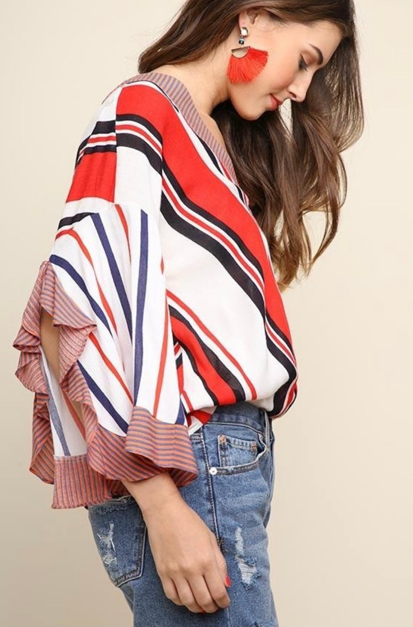 Umgee Multicolor Striped Split Sleeved Top
