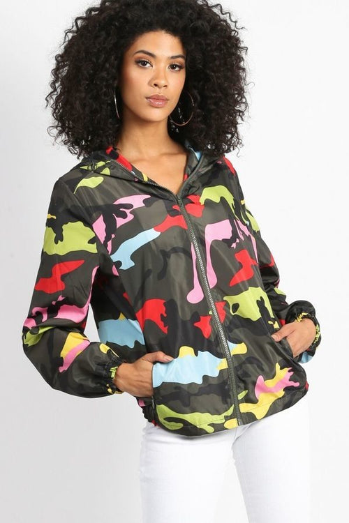 Brightly Colored Camo Wind Breaker Jacket