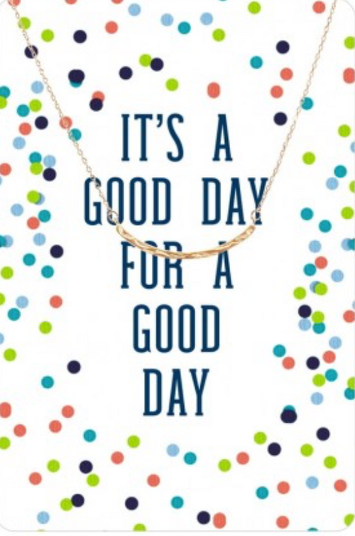 Gold Curved Bar Color Me Happy Necklace Card