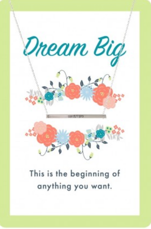 Silver Dream Big Bar Color Me Happy Necklace Card