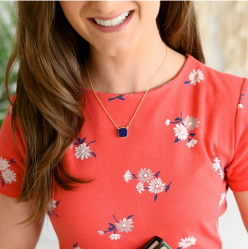 Viv & Lou Navy Druzy Necklace