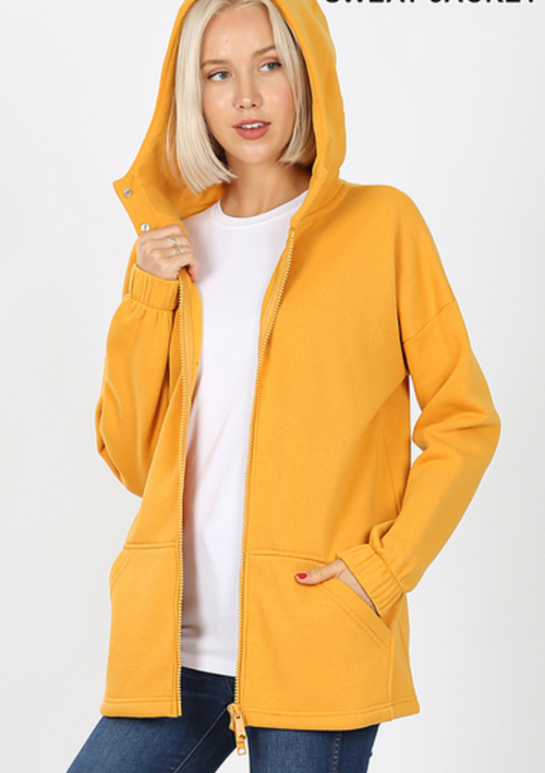 Golden Zip Hoodie with POCKETS!