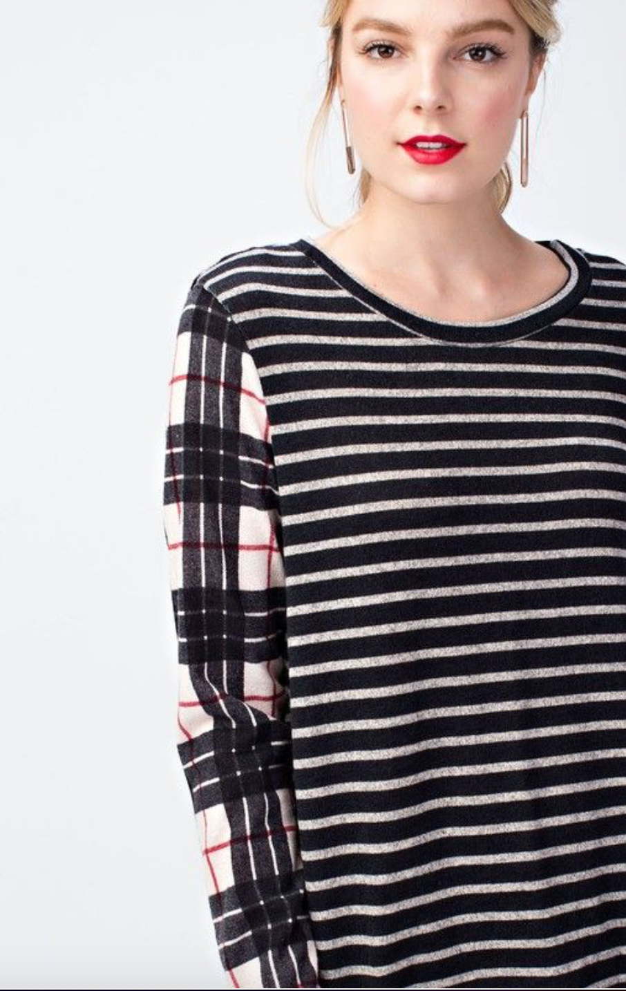 Classic Black Striped & Plaid Miru Top