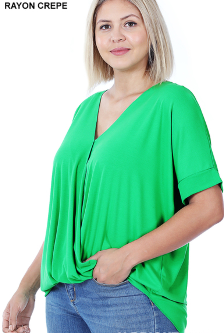 Misses & Curvy: Gorgeous Green Wrap Top