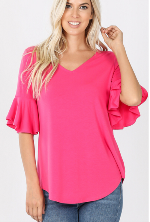 Hot Pink Ruffle Sleeve Knit Top