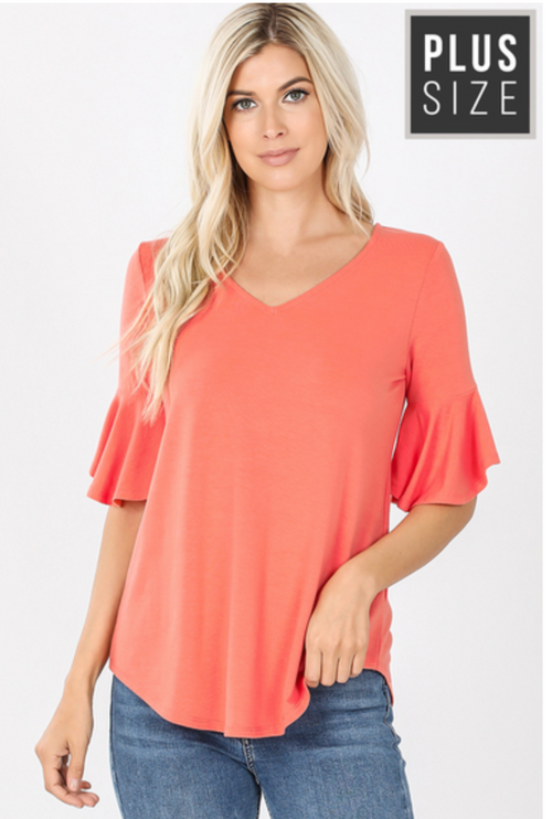 Curvy Coral Ruffle Sleeve Knit Top