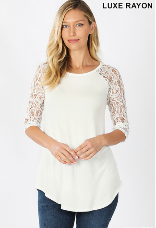 Comfy Lace Sleeved Knit Top in Ivory