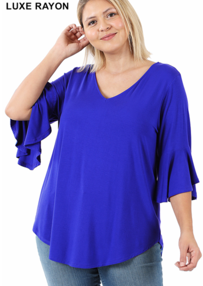 Misses & Curvy Electric Blue Ruffle Sleeve Knit Top