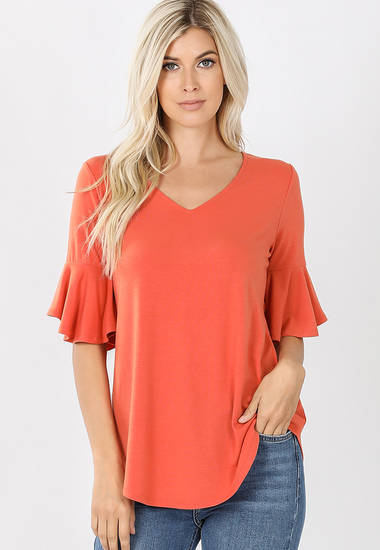 SOFT Knit Coral Top with Flutter Sleeve