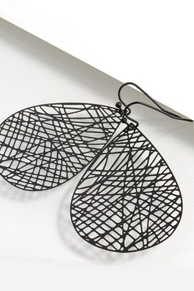 Black Filigree Hook Earrings