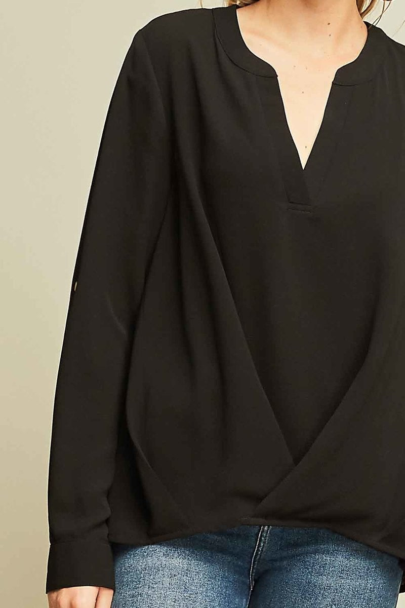 Dressy Twist Front Black V-Neck