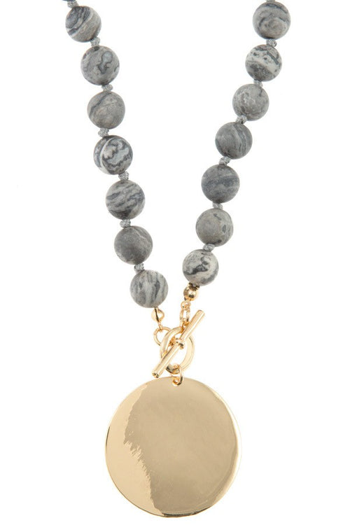 Semi-Precious Stone Metal Disc Pendant Necklace