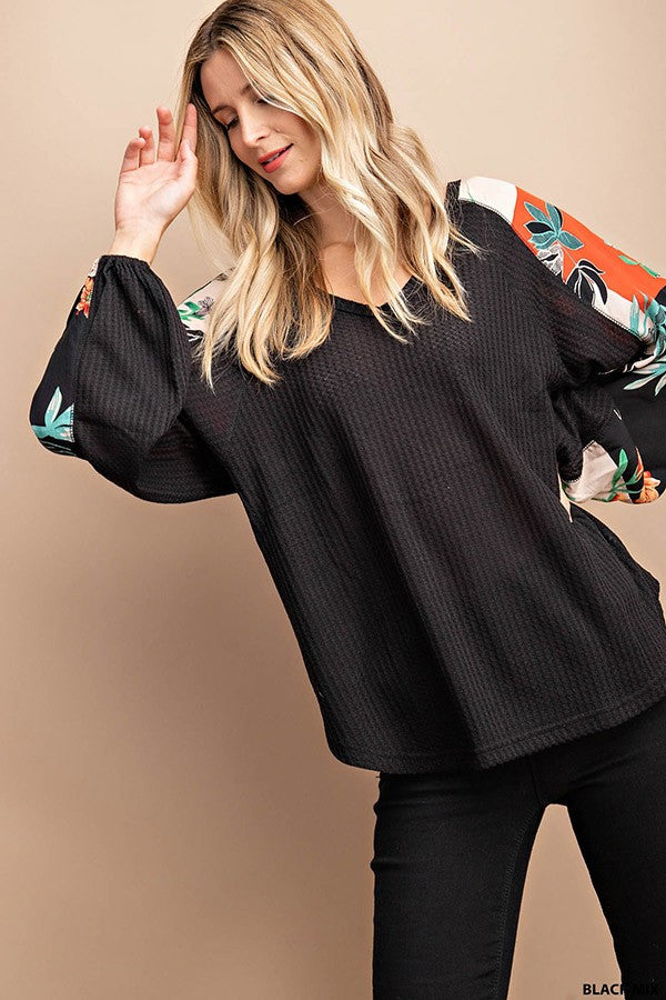Black Waffle Top with Puffy Sleeves