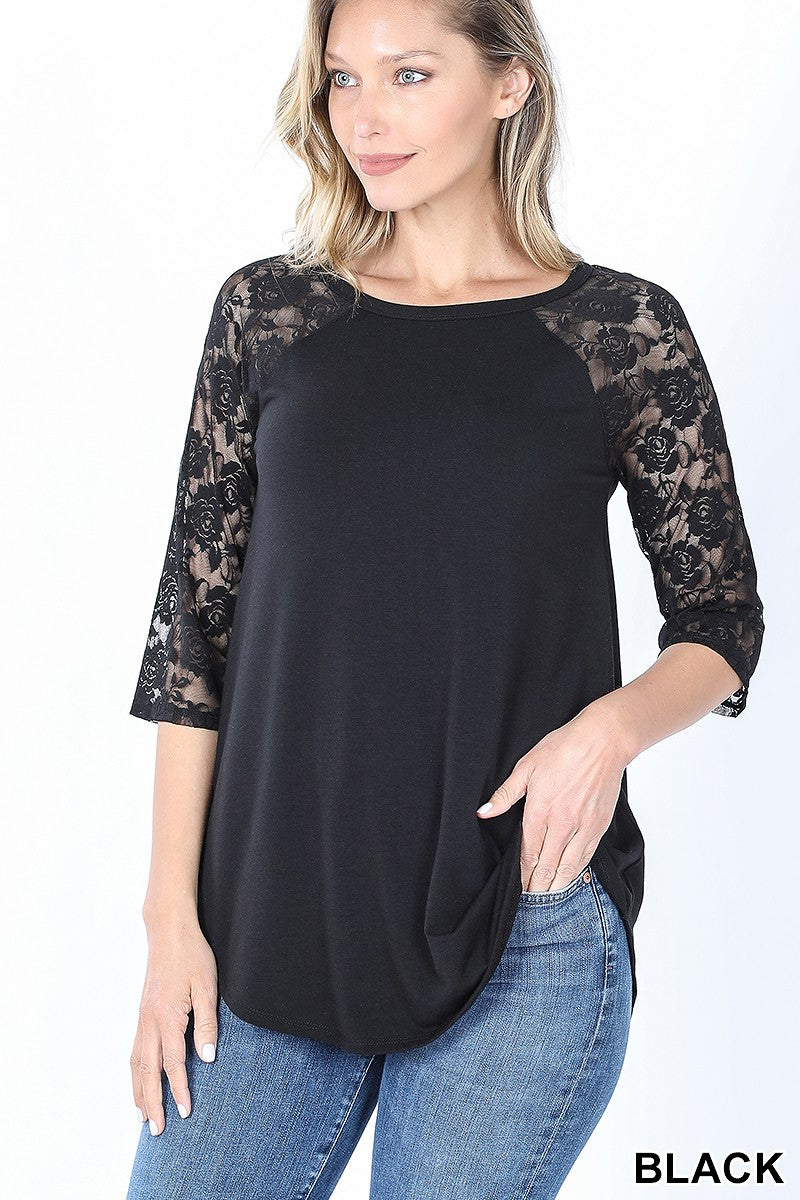 Comfy Lace Sleeved Knit Top: Black or Red