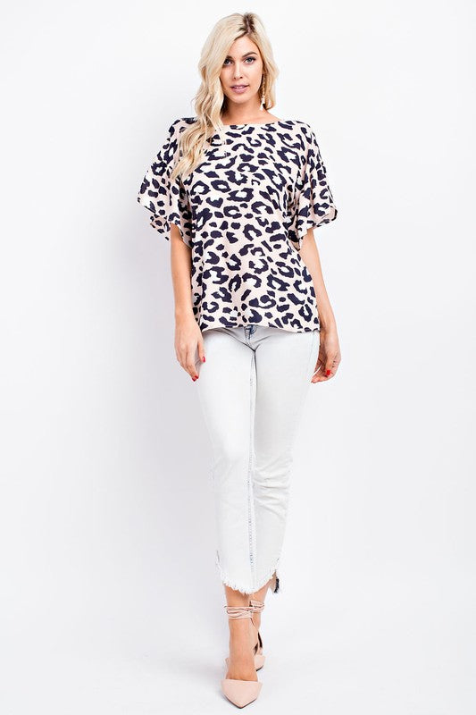 Blush Cheetah Print Tie Back Top