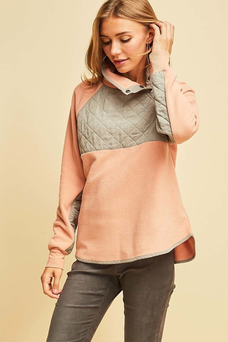 Blush Pink & Gray Quilted Pullover