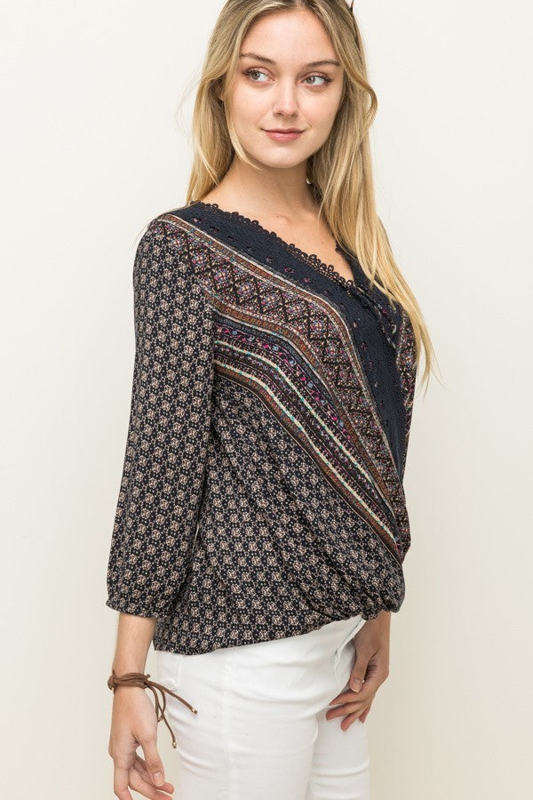 Navy Printed Wrap Top