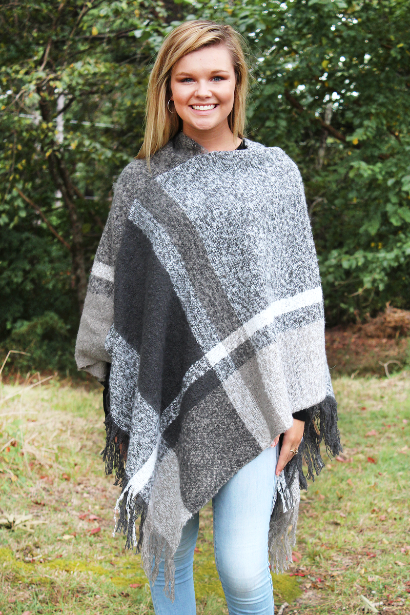 gray plaid sweater, poncho, one size, misses, plus, www.tooquteboutique.com, too qute boutique