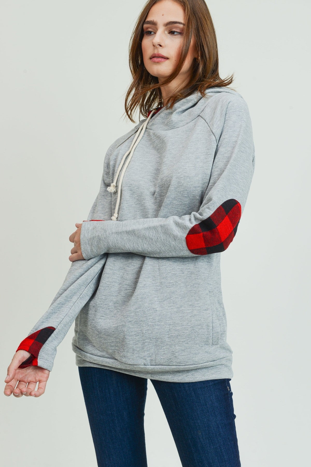 Double Hoodie with Buffalo Plaid Accents