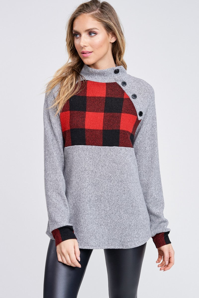 Gray Buffalo Plaid Fleece Pullover