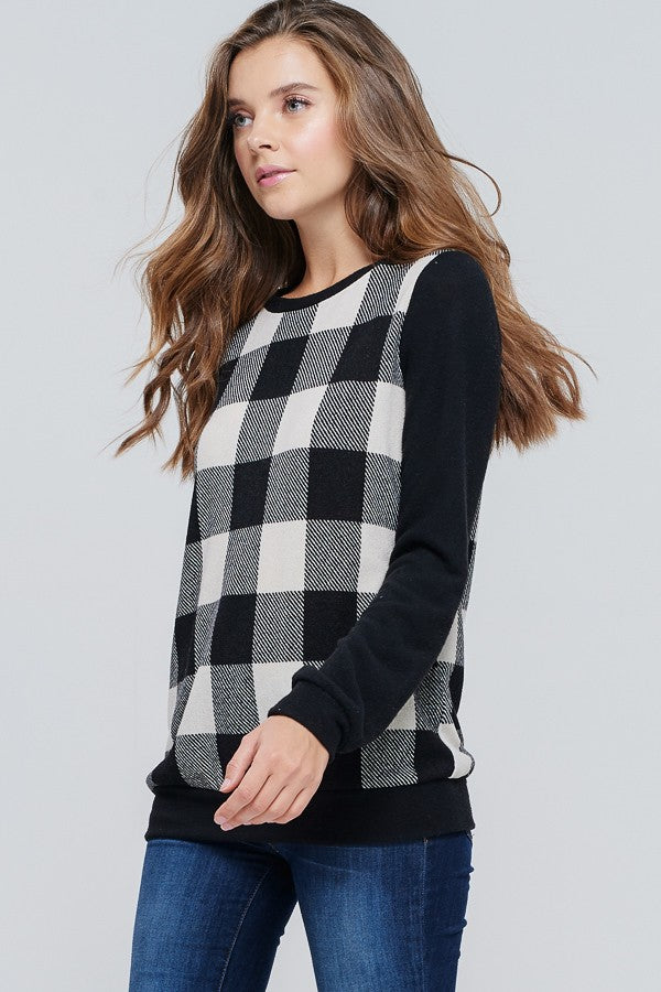 Buffalo White & Black Check Top