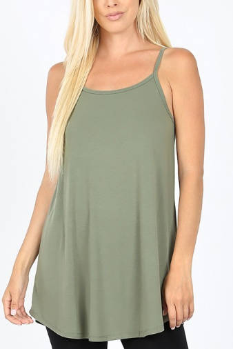 REVERSIBLE Scoop or V-Neck Cami: Red, Kelly Green, Black, Charcoal or Olive