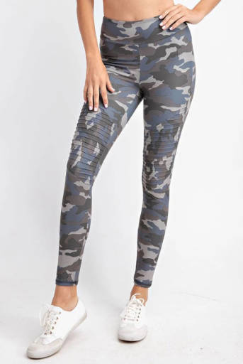 Gray & Blue Butter Camo Moto Leggings
