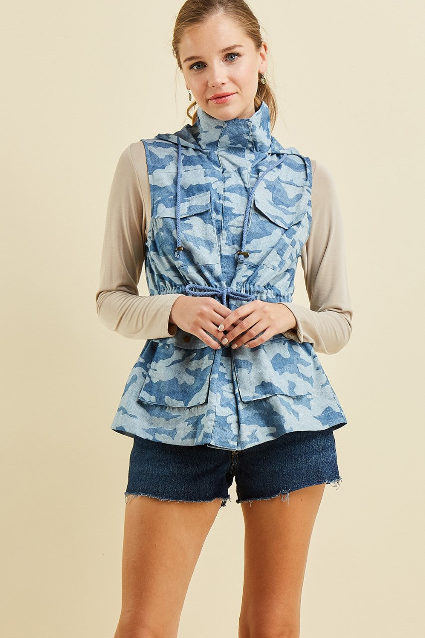 camo vest, blue, entro, small, medium, large, too qute boutique, www.tooquteboutique.com