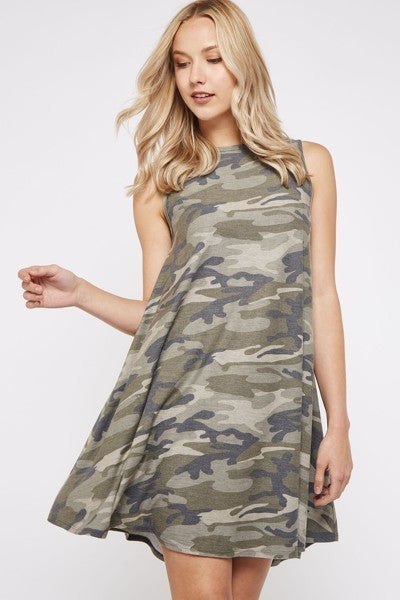 Camo Tank Swing Dress with POCKETS!!!