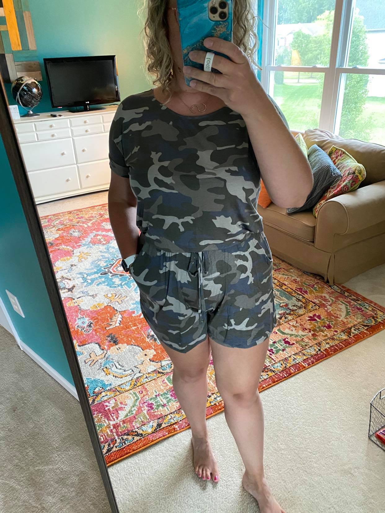 Dusty Camo Shorts Knit Romper