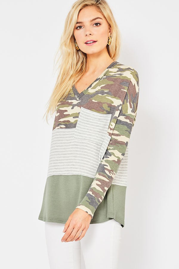 army, camo, top, shirt, knit, entro, too qute boutique, www.tooquteboutique.com, ladies, misses, small, medium, large, green, gray, white