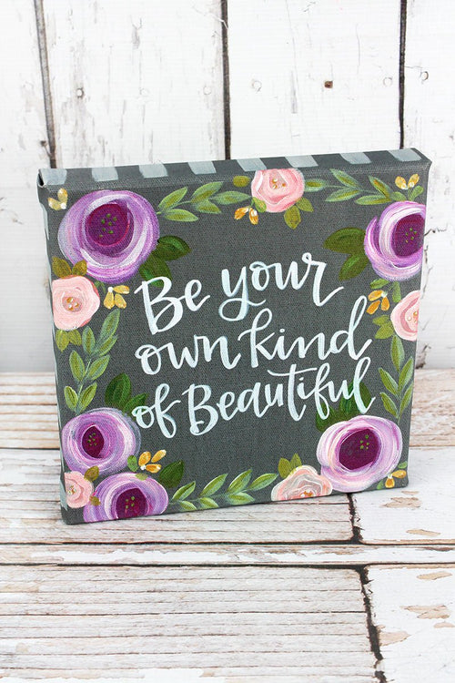"""Beautiful"" Gray & Violet Canvas Sign"