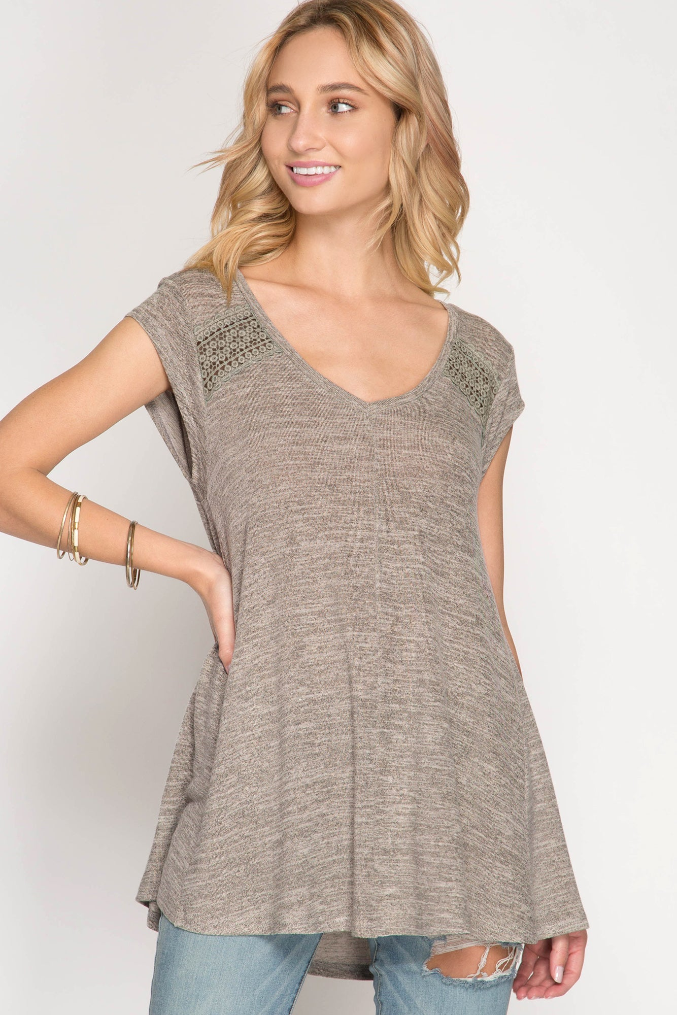 Oatmeal A-Line Top with Qute Inset