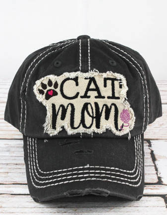 Cat Mom Black Cap