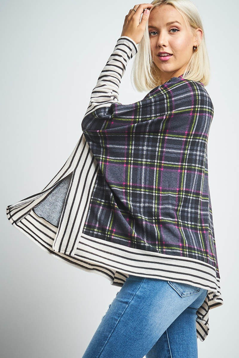 Charcoal & Purple Long Sleeve Miru Top
