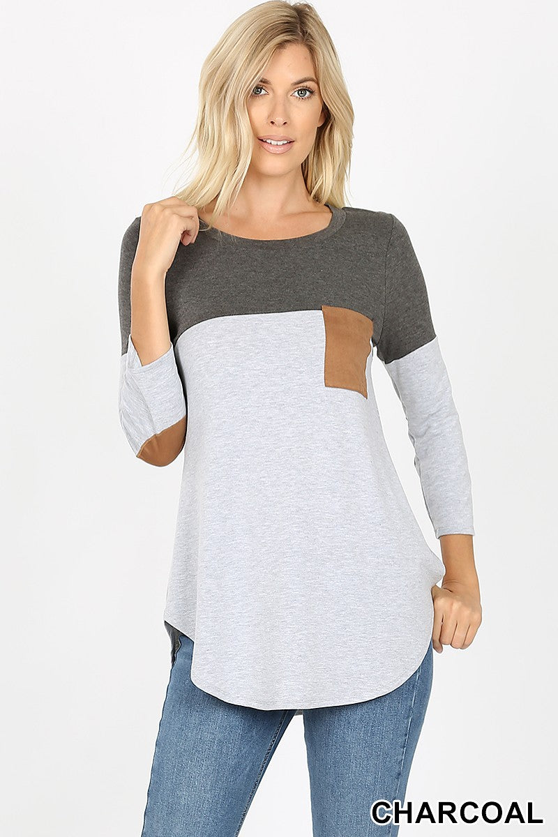 Misses & Curvy: Charcoal and Heather Gray Block Top w Elbow Patches!