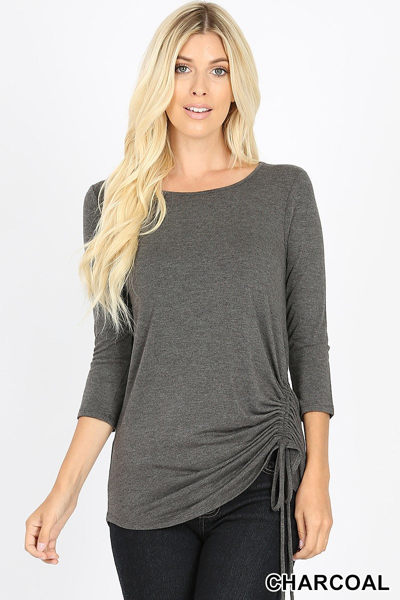 BLACK, CHARCOAL or OLIVE Rushed Side Knit Top
