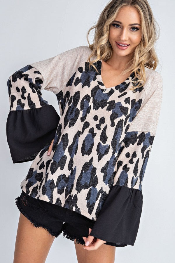 Oatmeal Cheetah Bell Sleeve Top