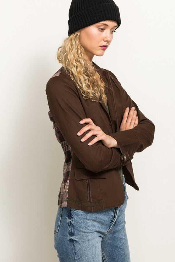 plaid, jacket, brown, chocolate, www.tooquteboutique.com, too qute boutique, ladies, small, medium, large, fall clothing