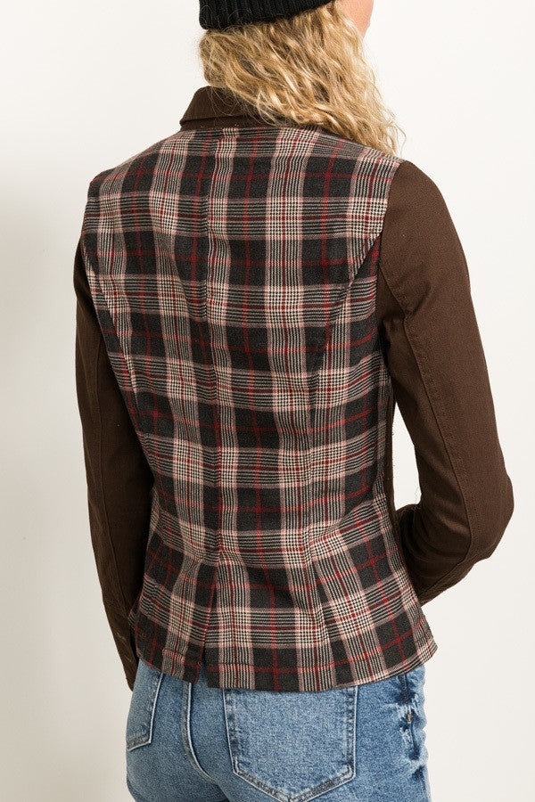 Plaid Backed Chocolate Jacket