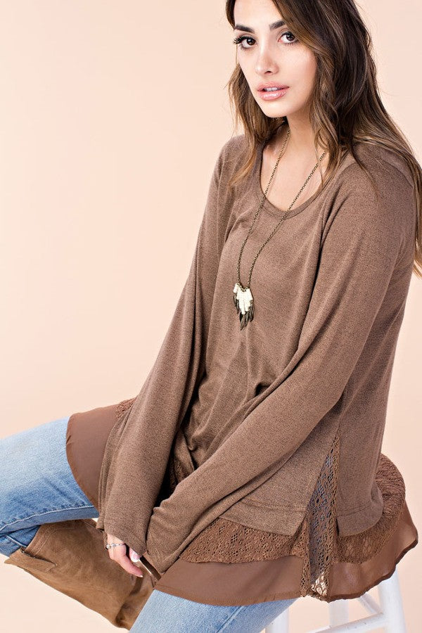 Chocolate Long Sleeve Top with Lace Insert