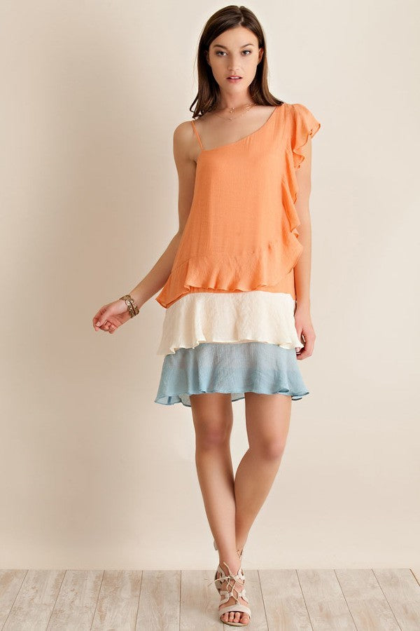 dress, apricot, ivory, blue, ruffle, entro, spring, summer, ladies fashion, misses, small, medium, large, too qute boutique, www.tooquteboutique.com