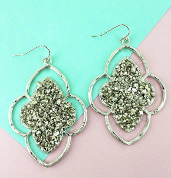 Worn Silvertone Druzy Moroccan Earrings