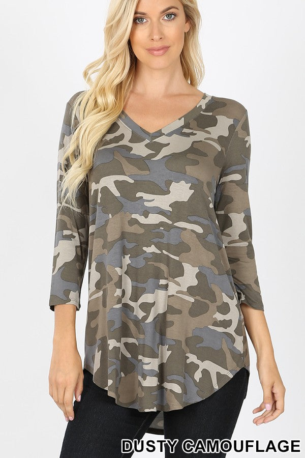 Misses & Curvy: Dusty Camo V Neck Knit Top
