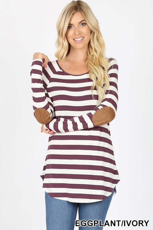 Eggplant & Ivory Striped Long Sleeve Knit Top with Elbow Patches!