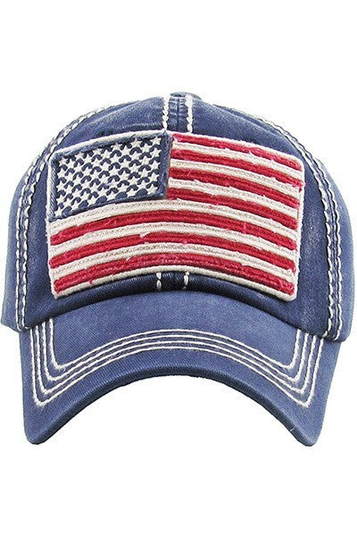 American Flag Distressed Navy Blue Cap
