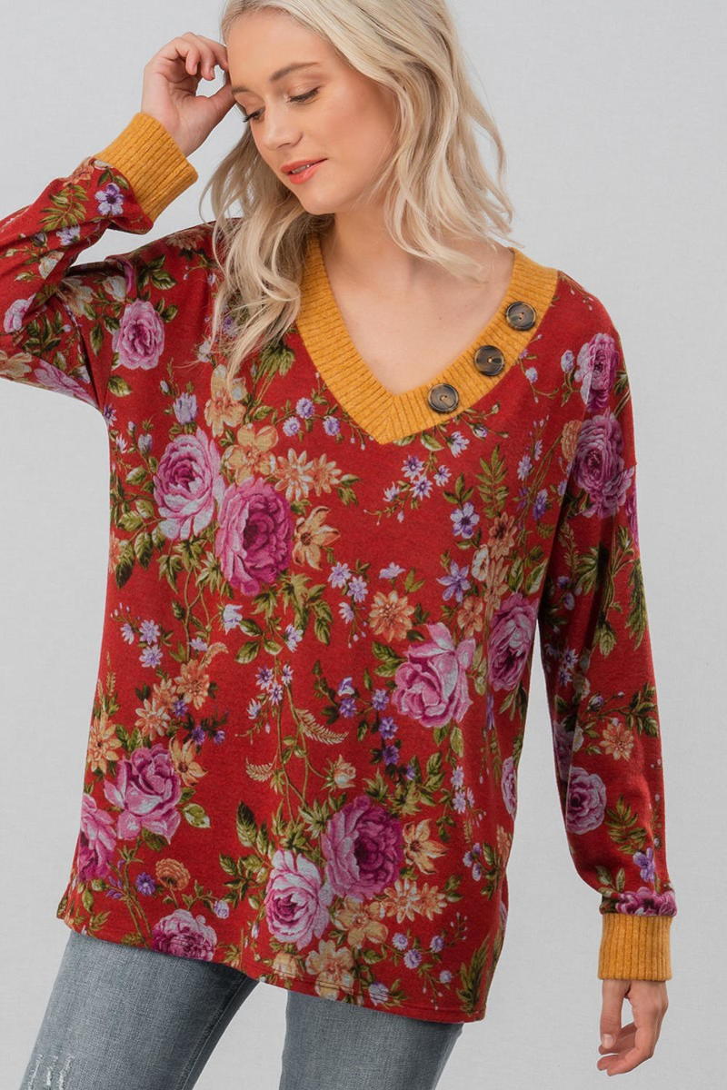 Red Floral Sweater Top