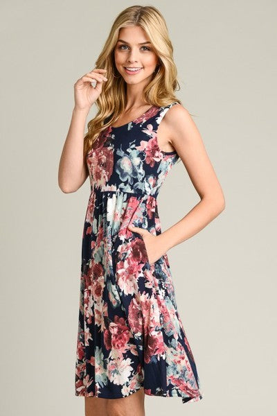 Navy Floral Sleeveless Dress with POCKETS!